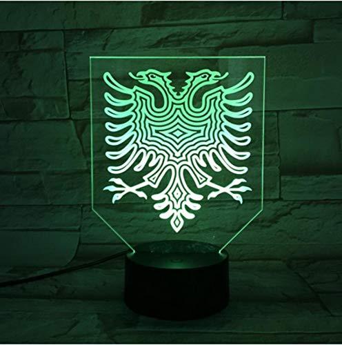 Lámpara de luz nocturna LED Multicolor RGB visual Sleeping Creative Festival Gift Atmósfera de la lámpara luz nocturna El águila de dos cabezas