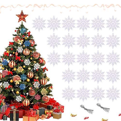 TaimeiMao 24Pcs Weihnachten Schneeflocken,Schneeflocken Deko,Glitter Schneeflocken Deko,Schneeflocke Weihnachtsbaumschmuck,Weihnachten Schneeflocken Anhänger,Weihnachtsbaum Deko (Weiß)