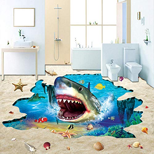 Papel tapiz fotográfico 3D Mundo submarino Suelo de tiburón Azulejos Murales Baño Dormitorio de niños Ropa de PVC Antideslizante Impermeable Papel de pared 3D-350 * 275cm