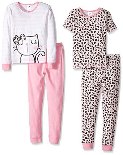 Gerber Baby 4 Piece Cotton Pajama Set, kitty, 12 Months