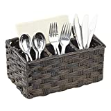 mDesign Plastic Woven Cutlery Storage Organizer Caddy Tote Bin Basket for Kitchen Table, Cabinet, Pantry - Holds Forks, Knives, Spoons, Napkins, Serving Utensils - Indoor or Outdoor Use - Espresso