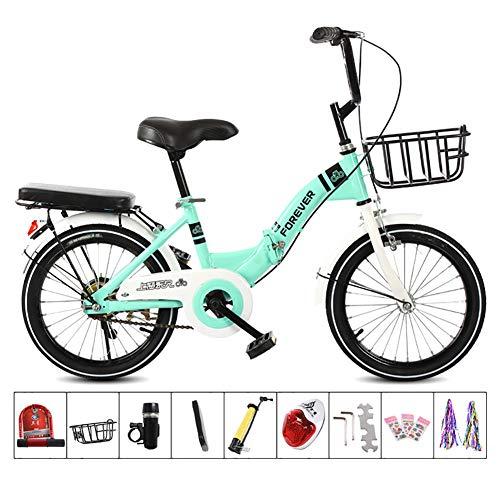 XIAOFEI Bicicleta Plegable 16/20 Pulgadas/ArtíCulos para Mini Bicicleta Plegable para NiñOs, Hombres Y Mujeres Bicicleta Plegable PortáTil para Adultos, Estudiantes, Freno Disco,Verde,16'