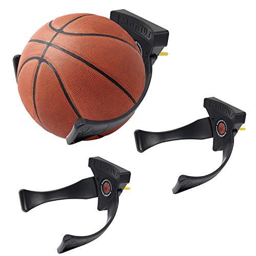 Jolitac Wall Mounted Ball Holder Display Sports Balls Storage and Decoration Shelf Black Self-Sticking Claw Racks (3 PC)