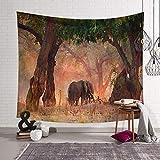 PatTheHook Tapiz De Pared, Tapiz De Animales para Colgar En La Pared Los Elefantes Salvajes En El Bosque, Decoración De Arte Tejido Rectangular Grande De Salón Dormitorio,200×150Cm.