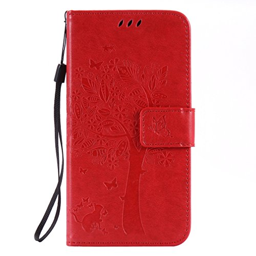 LMAZWUFULM Hülle für Huawei Y6 II Compact/Huawei Y5 II (5,0 Zoll) PU Leder Magnetverschluss Brieftasche Lederhülle Baum & Katzen Muster Standfunktion Schutzhülle Ledertasche Flip Cover Rot