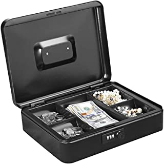 Masmartox Cash Box with 5 Money Tray and Combination Lock, Black-Security Lock Box with Carrying Handle