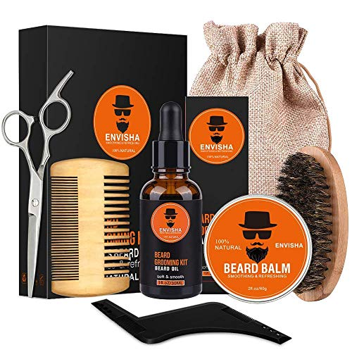 AVEDISTANTE kit para Cuidado de Barba 7 en 1 Crecimiento de la Barba incluye 100% Natural Aceite, Bálsamo, Cepillo, Tijeras, Peine, Moldeador y Bolsa de Arpillera