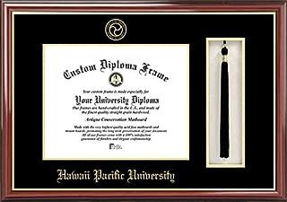 Laminated Visuals Hawaii Pacific University Sharks - Embossed Seal - Tassel Box - Mahogany - Diploma Frame