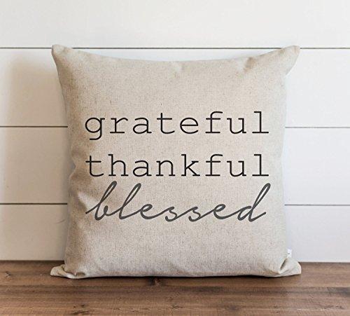Grateful Thank ful Blessed - Funda de almohada para uso diario de Acción de Gracias