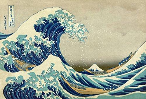Legendarte Schilderij van Katsushika Hokusai-De Golf van Kanagawa-Digitale Print op Canvas-cm. 60x90, Textiel, Hout, Multi kleuren