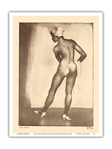 Estudios de Figura - Chica nativa Hawaiana - De Grabados y Dibujos de Hawaianas - Grabado a Punta Seca de John Melville Kelly c.1940s - Impresión de Arte 23x31cm
