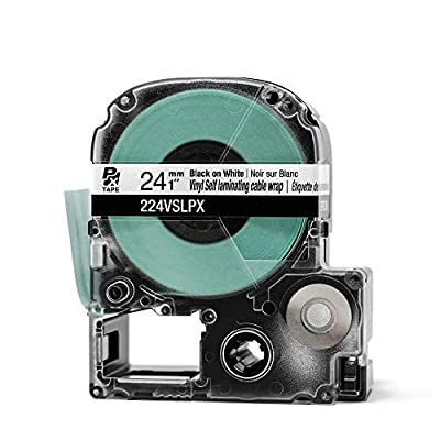 "LABELWORKS 224VSLPX Tape Cartridge - Black on White Vinyl Self Laminating Overwrap Industrial Label Maker Tape - 1"" (24MM) Wide, 26.2 ft"