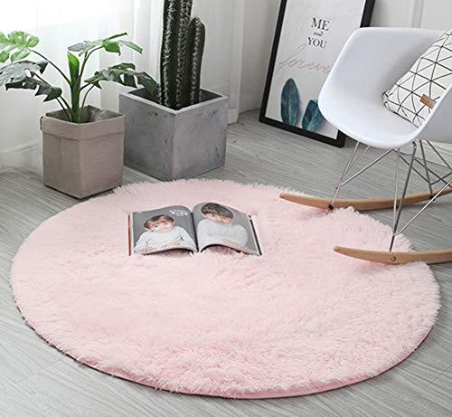 Insun Tapis Shaggy Monochrome Tapis à Poils Moelleux Pile Haute Rond Tapis en Polyester pour Le Salon la Chambre Rose 130cm Diamètre