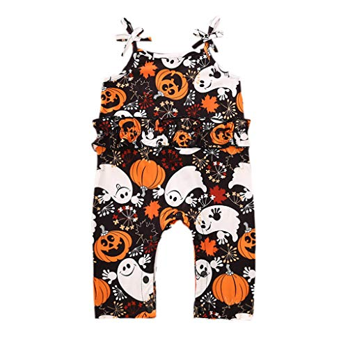 Infant Baby Girl Halloween Outfit One Piece Strap Pumpkin Spooky Romper Jumpsuit My 1ST Halloween Clothes (Spooky, 6-12 Months)