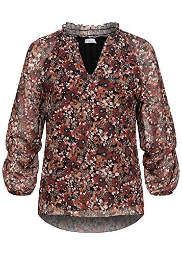 Hailys Damen V-Neck Chiffon Langarm Bluse Blumen Print Frilldetails rot schwarz