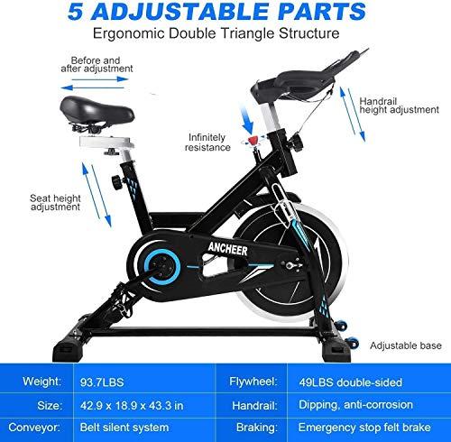 ANCHEER Bici da Spinning Cyclette con Volantino di Inerzia 22 kg/ 18 kg/10 kg Display LCD, Sensore di Impuls, Collega con l'App Manubrio e Sella Regolabili, Portata Massima 120 kg (Nero volano 22kg)