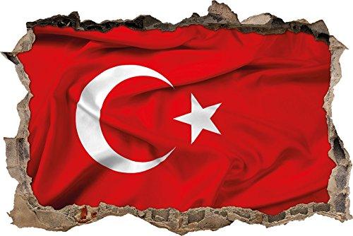 Pixxprint 3D_WD_2779_92x62 Turkey flag, Türkische Flagge Wanddurchbruch 3D Wandtattoo, Vinyl, bunt, 92 x 62 x 0,02 cm
