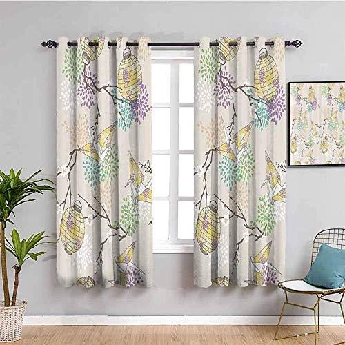WXhGY Cortinas Opacas Estampadas 3D Beige Flores linternas grullas de Origami 234x229cm La habitación de los niños la Sala de Estar la Oficina el dormitorioreducen Las de Ruido