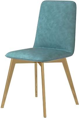 フェイクレザーダイニングチェア シンプル 背もたれ 化粧椅子、 ファッション 丈夫 ジョーカースタイル ホーム 錬鉄 オフィスチェア (Color : Blue)
