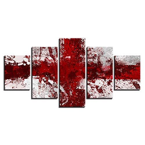 VGFGI 5 Panels rote & weiße Flagge Malerei Wohnzimmer nach Hause Wandkunst Dekoration gedruckt modulares Bild große Leinwand