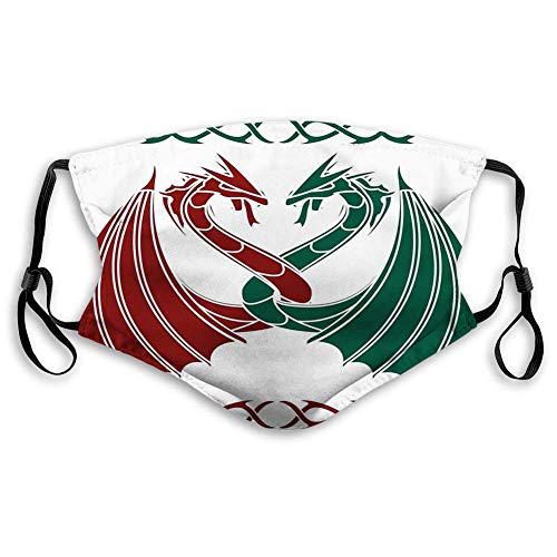 Comfortable Printed mask,Celtic, Dragons Theme Design Mythical Early Medieval Scandinavian Celtic Castle Knights Print, Green Red,Windproof Facial decorations with 2PCS filters made in USA