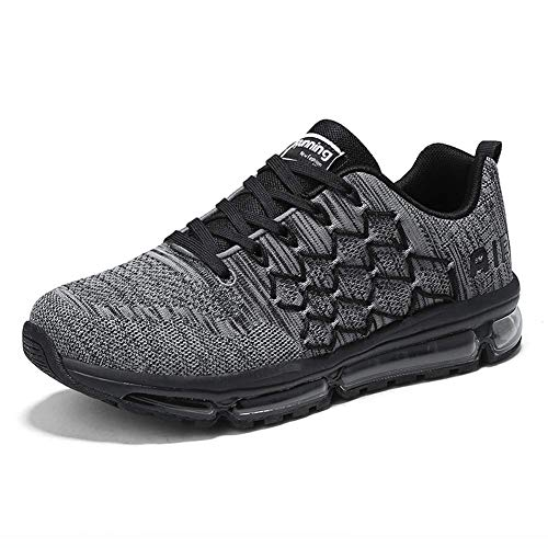 Uomo Donna Air Scarpe da Ginnastica Corsa Sportive Fitness Running Sneakers Basse Interior Casual all'Aperto 1643 Black Gray 44