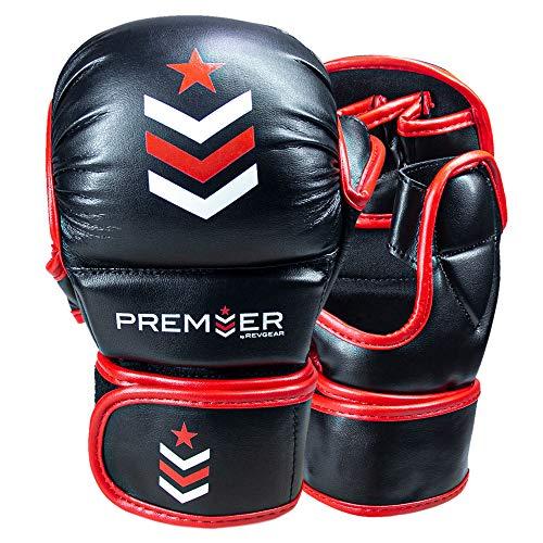 Revgear Premier MMA Trainingshandschuhe | Ideal für den täglichen Gebrauch im Fitnessstudio | bequem und langlebig (rot/schwarz, groß)