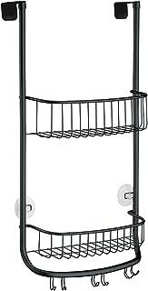 iDesign panier de rangement à suspendre, petit valet de douche en métal avec 2 paniers et 3 crochets doubles, panier de ba...