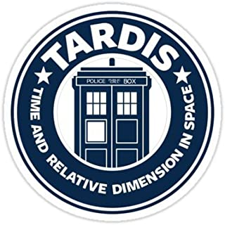 Chili Print Tardis Coffee - Sticker Graphic Bumper Window Sicker Decal - Doctor Who Dr Who Sticker
