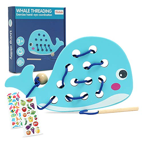 Lacing Toy for Toddlers, Fine Motor Skills Educational Toys for 1 2 3 Year Old, Dolphin Threading Toys Wood Early Development Montessori Toy, Best Gift for Girls & Boys, Airplane Car Travel Game