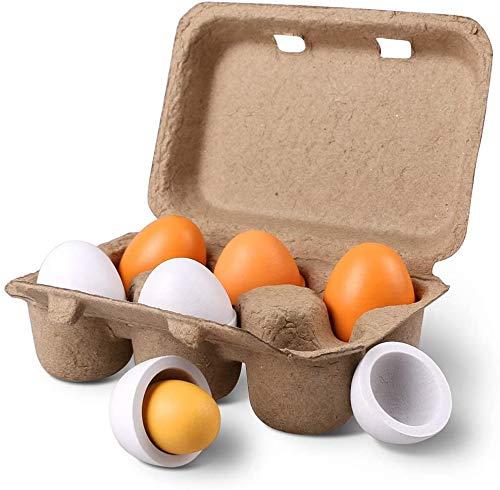 StillCool Madera Huevos, 6 Unidades de Huevos de Yema de Madera, Kitchen Toy, Juguete de Cocina y Alimentos Preescolar para Niños Regalo