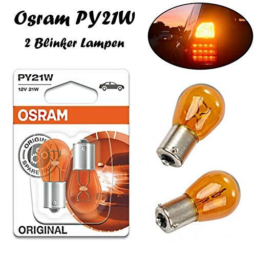 2x Osram Original PY21W 12V BAU15s 7507-02B Orange High Tech Ersatz Halogen Birne für Blinker vorne hinten Seitenblinker E-geprüft