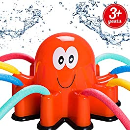 Atlasonix Outdoor Water Sprinkler Spray for Kids – Cute Backyard Sprinkler Toy with Wiggle Tube Arms – Active Summer Play for Children and Pets – Attaches to Garden Hose – Age 3+