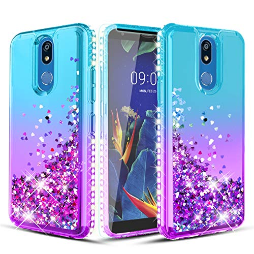 Wallme LG K40 Case,LG Solo LTE(L423DL)/Harmony 3/X4 2019/LMX420/Xpression Plus 2 Case W[Tempered Glass Screen Protector] Glitter Diamond Falling Hearts Phone Case for Girls Women-Teal Purple