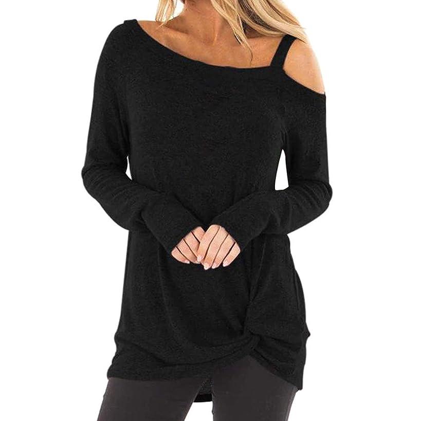 CmmYYrei Women Casual Shirts Twist Knot Tunics Tops Off Shoulder Long Sleeve Tops Blouses