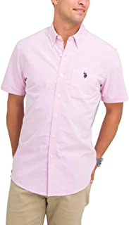 U.S. Polo Assn. Mens Solid Stretch Oxford Short Sleeve...