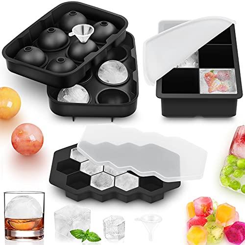 Eiswürfelform,JTENG 3 Stück Silikon Eiswürfelform mit Deckel Ice Cube Tray,für Cocktail, Whisky, andere Getränke