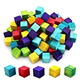 SKPPC 100 Pieces 0.6 Inch Multicolour Wood Craft Cube, Mini Wooden Square Blocks for DIY Crafts, Puzzle Making, Party Favors, 5 Color