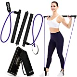 Viajero 2021 Pilates Bar Kit with 2 Latex Exercise Resistance Bands for Portable Home Gym Workout, 3-Section Sticks All-in-one Strength Weights Equipment for Body Fitness Squat Yoga with E-Book Video