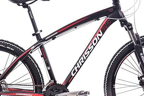 CHRISSON 26 Zoll Mountainbike Hardtail - Altero 1.0 schwarz - Hardtail Mountain Bike mit 24 Gang Shimano Acera Kettenschaltung - MTB Fahrrad für Herren und Damen Suntour Federgabel - 3