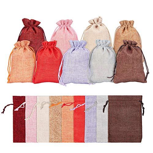 PandaHall - Lot de 30pcs Pochettes Sachets en Lin Chanvre avec Cordon Rectangle Sacs Jute pour Bijoux Cadeau Mariage, Couleur Multicolore, 13.5x9.5 cm