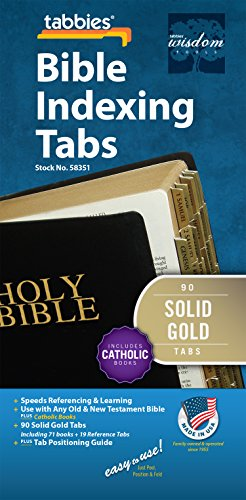 Tabbies Gold-Colored Bible Indexing Tabs, Old & New Testament Plus Catholic Books, 90 Tabs Including 71 Books & 19 Reference Tabs (58351)
