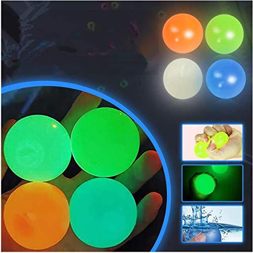 Ceiling Sticky Balls Decompress Stress Relief Balls, Squishy Glow Stress Relief Toys, Stick to The Wall and Slowly Fall Off, Tear-Resistant, Fun Toy for ADHD, OCD, Anxiety (4 Pcs)