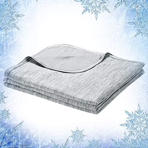 Elegear Cool Summer Blanket, 2 in 1 Design Throw Blanket Bed Throw Keep You Cool All Night, Anti Allergy and Breathable 200x220cm-Gray