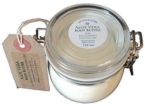 Attis Manteca Corporal de Aloe Vera con Aceite Esencial de Eucalipto |–crema hidratante de | | crema facial | crema de manos | Natural | hecho a mano