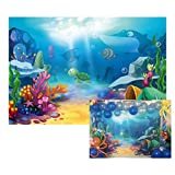 Baocicco 6x4ft Cartoon Underwater World Coral Reef Backdrop Vinyl Photography Background Sea World Colorful Torpical Fishes Turtles Baby Shark Party Summer Holiday Children Birthday Party Photo Studio