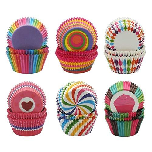 600 Stücke Muffin Förmchen Cupcake Wrapper Regenbogen Papier Fällen Liners Muffin Backförmchen für Dessert Hochzeit Geburtstag Party