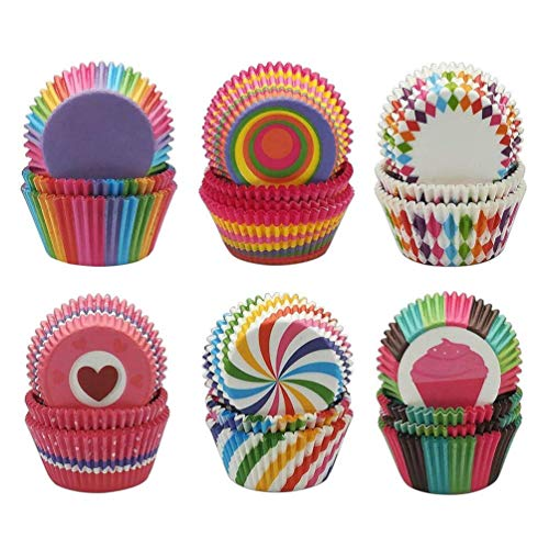 600 Stücke Mini Muffin Förmchen Cupcake Wrapper Regenbogen Papier Fällen Liners Muffin Backförmchen für Dessert Hochzeit Geburtstag Party