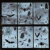 Heekpek 113 Pieza Halloween Arañas Pegatinas de la Ventana Murciélagos Telaraña Autoadhesivo Estático Reutilizable Pegatina de Pared Halloween Decoración Terror para la Fiesta de Halloween Accesori