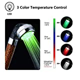 LED Shower Head 3 Colors Changing Bathroom Spa Shower Head with Negative Ionic